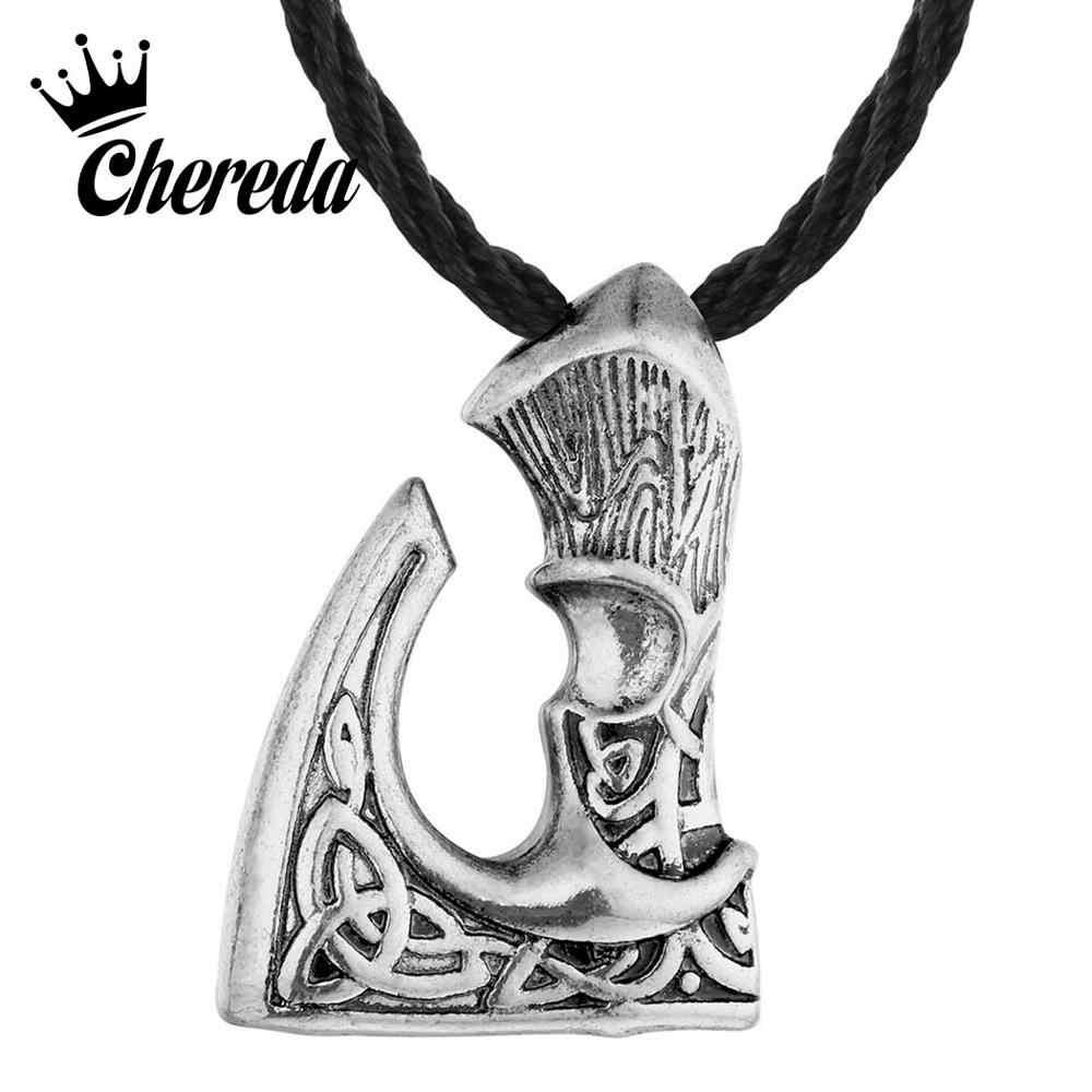 Chereda duży topór wisiorek naszyjnik wikingów topór Perun jest słowiański wisiorek w stylu Vintage Punk osobowość oświadczenie biżuteria