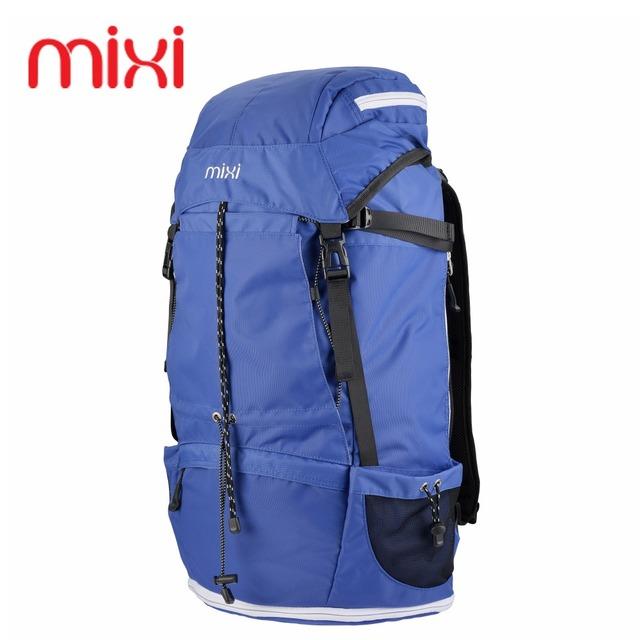 "Mixi 42.84L Large Capacity Waterproof Outdoor Travel Camping Bag 23"" Khaki Blue Climbing Hiking Sports Backpack Rucksack"