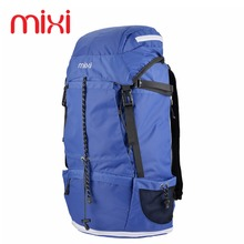 Mixi 42.84L Large Capacity Waterproof Outdoor Travel Camping Bag 23'' Khaki Blue Climbing Hiking Sports Backpack Rucksack