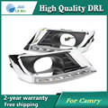 Free shipping ! 12V 6000k LED DRL Daytime running light case for Toyota Camry 2010 2011 Fog lamp frame Fog light Car styling