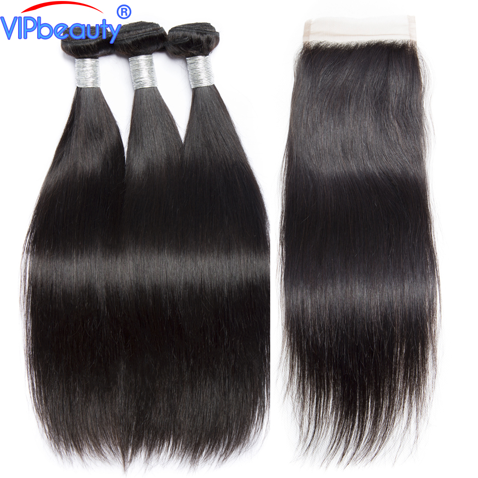 Peruvian straight human hair 3 bundles with lace closure vip beauty hair remy hair extensions hair