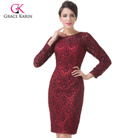 Long Sleeve Red Lace Evening Dresses 2016 Grace Karin Women Formal Dress Mother Of The Bride
