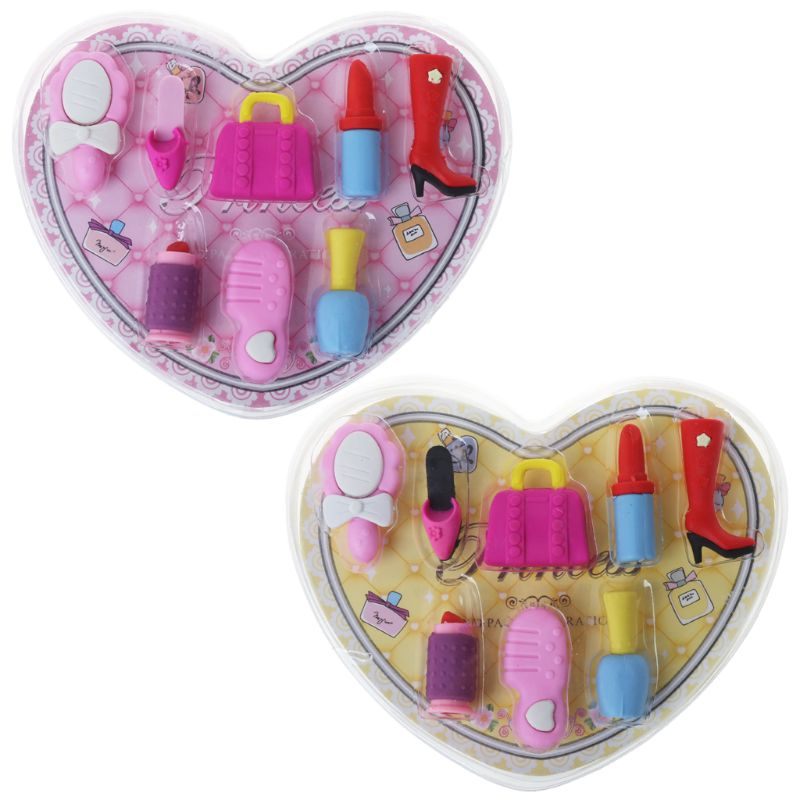 8pcs/set Girl Cosmetics Pencil Eraser Heart Gift Box Stationery School Supplies-school Supplies
