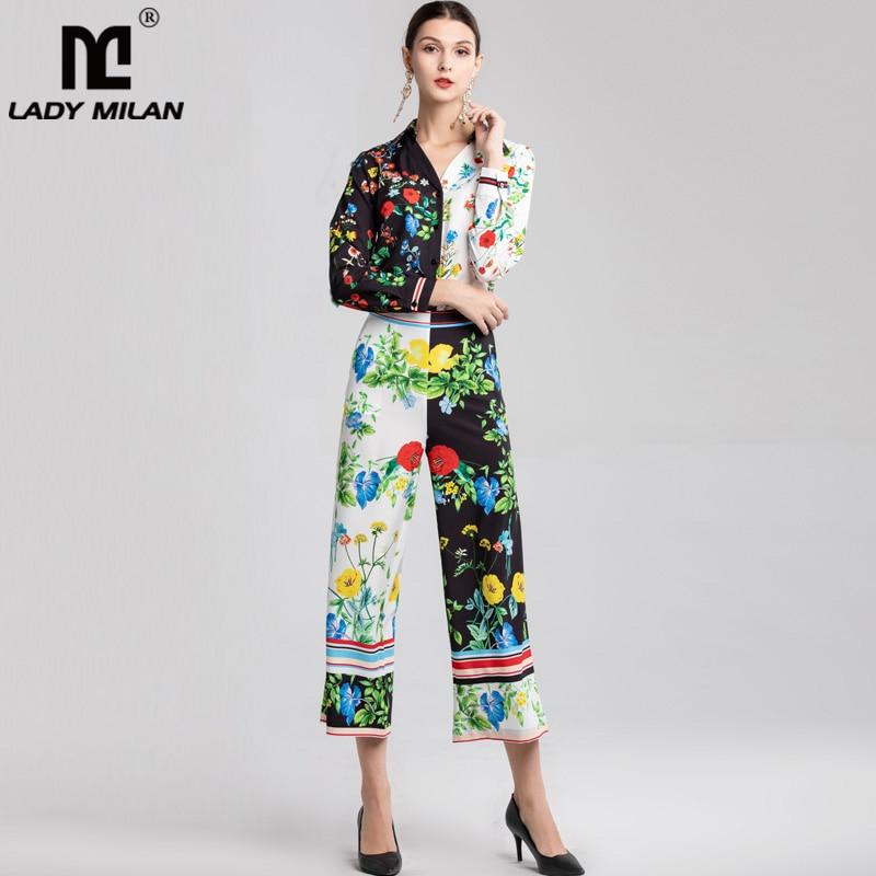 Femmes Avec Chemises Ensembles Pantalon De Le Imprimé Bas Manches Floral Longues sets Tournent Vers Deux Pièces Designer Twin Piste f7gIYb6yv