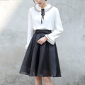 Yichaoyiliang Women High Waist Black Tulle Skirts Lolita Preppy Style Midi Skirt Bowknot Elastic Waist Band Sweet White Skirt