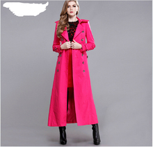 European New Fashion Women Winter Dust coat Elegant Slim Super Long Coat High-end Big yards Long sleeve Trench coat G1848
