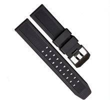 1 UNIDS 23mm bandas de goma venda de reloj correas de reloj correa de reloj de Silicona negro color de reloj luminox