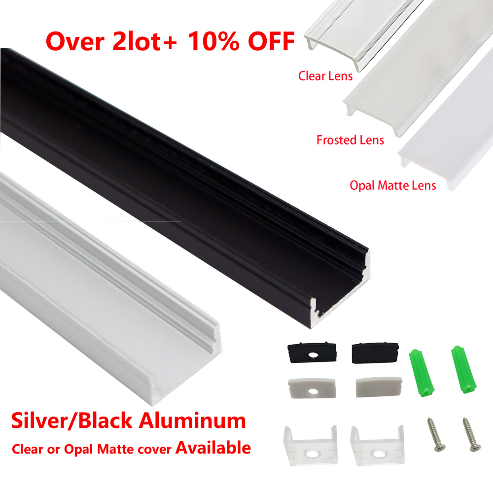10pcs/lot 1M Aluminum Led Profile For 3528 5050 Led Strip Width 12mm LED Aluminum Channel Led Light Bar Housing Black&Silver