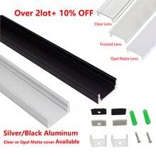 Profilé pour bande led en aluminium, 1M, pour 3528 et 5050, 12mm, 10 pcs/lot, noir et argent