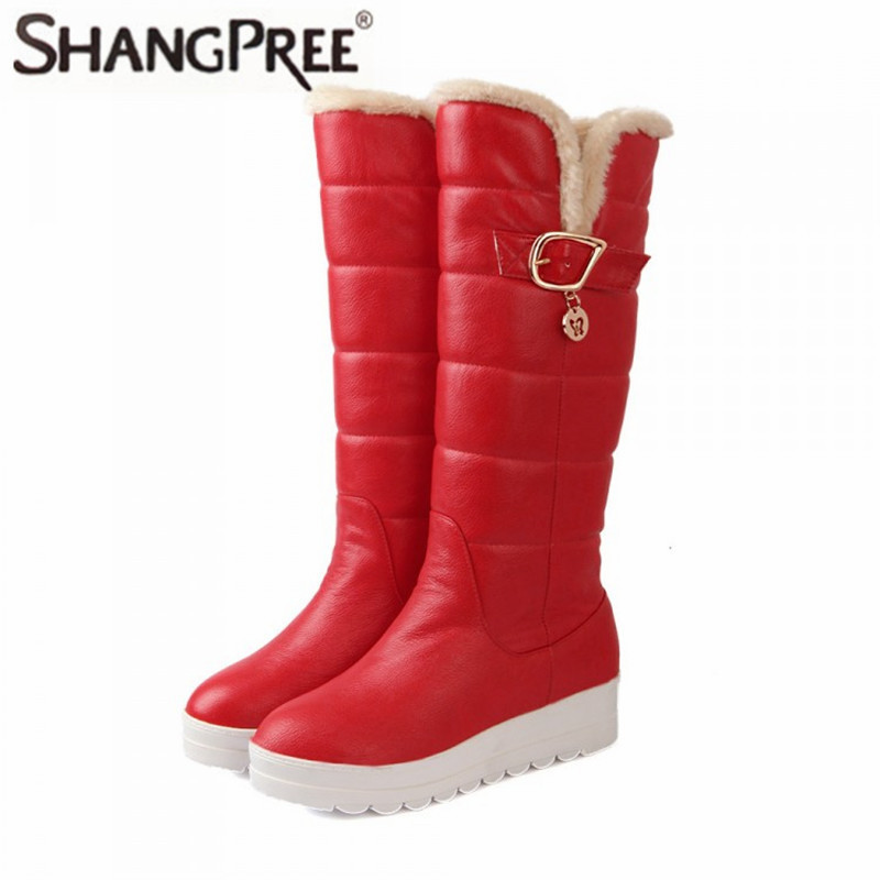 все цены на High quality Women snow boots mid calf boots round toe med heels platform women boots pu leather thick winter snow boots Large