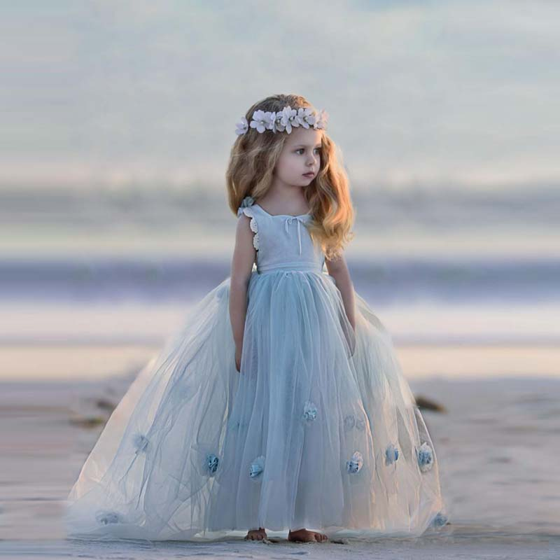 2019 Beach Sky Blue Dreamlike   Flower     Girl     Dresses   Jewel Neck Sleeveless 3D Applique Lovely   Girls   Prom   Dress   Vestido longo