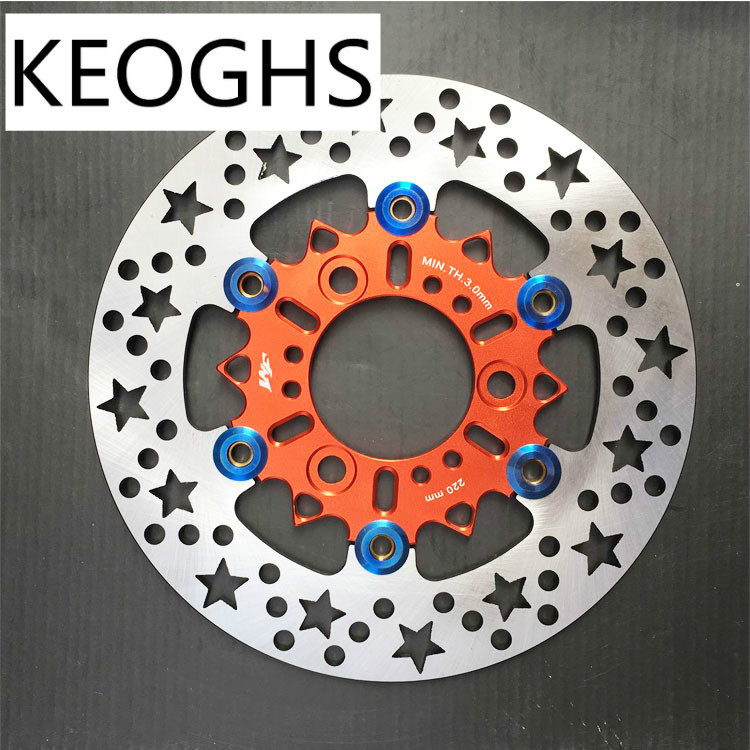 KEOGHS Motorcycle Brake Floating Disc 220mm 260mm For Yamaha Scooter Modify Star Brake Disc keoghs motorcycle rear hydraulic disc brake set for yamaha scooter dirt bike modify 220mm 260mm floating disc with bracket