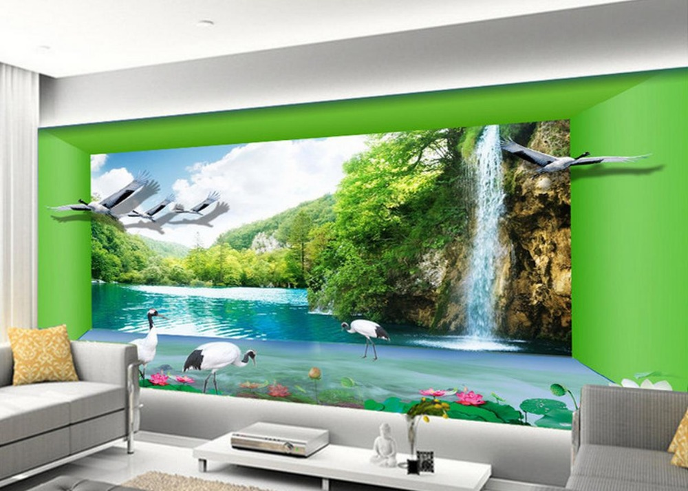 ᐂstereoscopic 3d Wallpaper Lake Aesthetic Space Home Decoration 3d