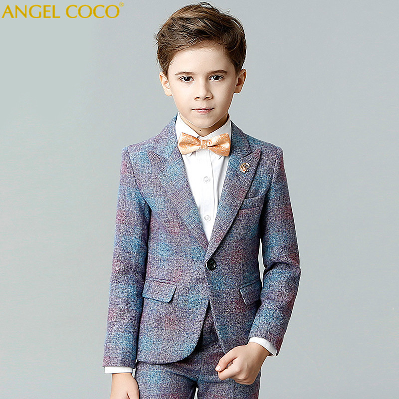 Boy Suit Spring Catwalk Show Host Birthday Costumes Children Suit Men Enfant Garcon Mariage Blue Blazers For Boys Wedding