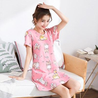 b831947e46 Dropwow 2018 New Cotton Nightgown Women Sweet Girl Lounge Cute ...