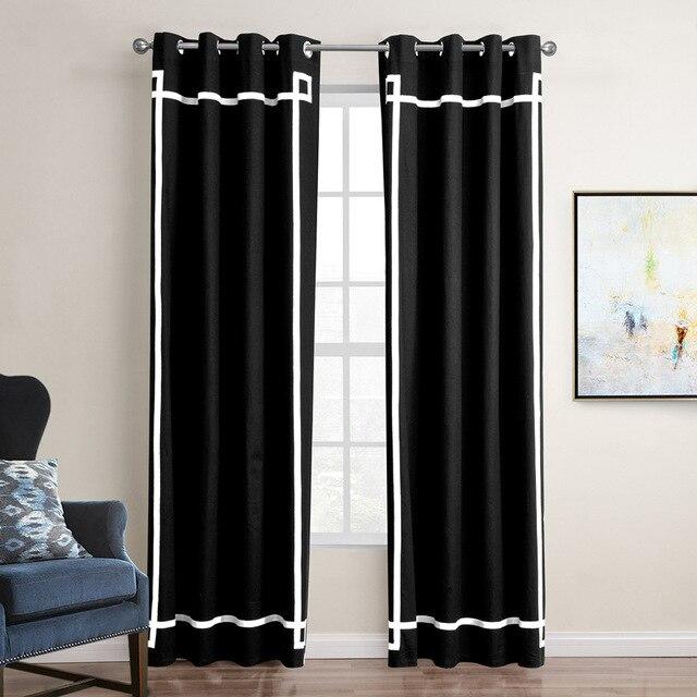 Eenvoudige en Moderne stijl zwart doek gordijnen katoen zwart ...