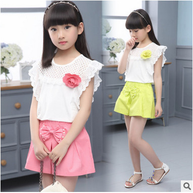 Kids girls short-sleeved suit 2017 new summer children's cotton casual T-shirt big virgin piece shorts girls clothes 3-12 years цена 2016