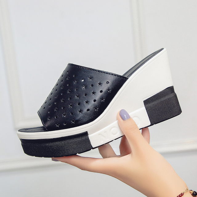 Aphixta الصيف النساء صنادل أرضية جديدة انقسام الجلود صندل كعب عالٍ النعال أحذية امرأة الموضة 4