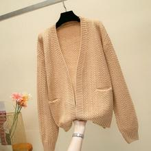 2019 For Girl Casual Knitted Sweater Autumn Korean Women Slim Solid Color Pocket Design Cardigan Khaki White Blue Brown