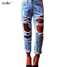 цена на Godier Fashion Big Hole Ripped Jeans Woman Skinny High Waisted Jeans Women Destroyed Begger Denim Pants For Women
