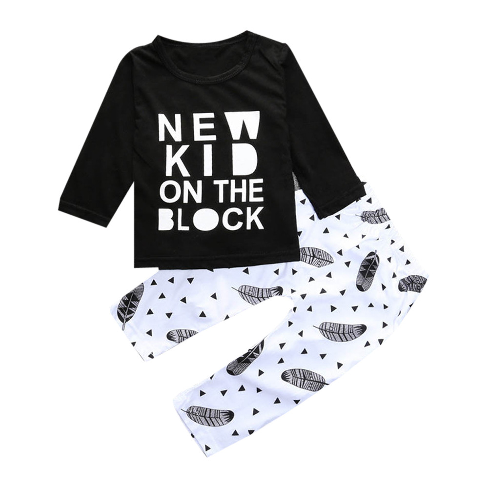2017 New Autumn Winter Fashin Warm  1Set Infant Toddler Kids Boy Letter Printed T-shirt Tops+Pants Outfits Clothes Outwear 2016 fashin reversible skullies