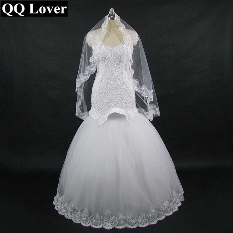 2017 Mermaid font b Wedding b font Dress With Video With Veil Gift Custom made Plus