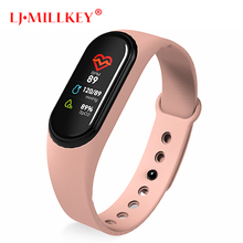 цена на M4 Smart Bracelet Band Fitness Tracker Heart Rate Blood Pressure Messages Reminder Color Screen Sport Wristband