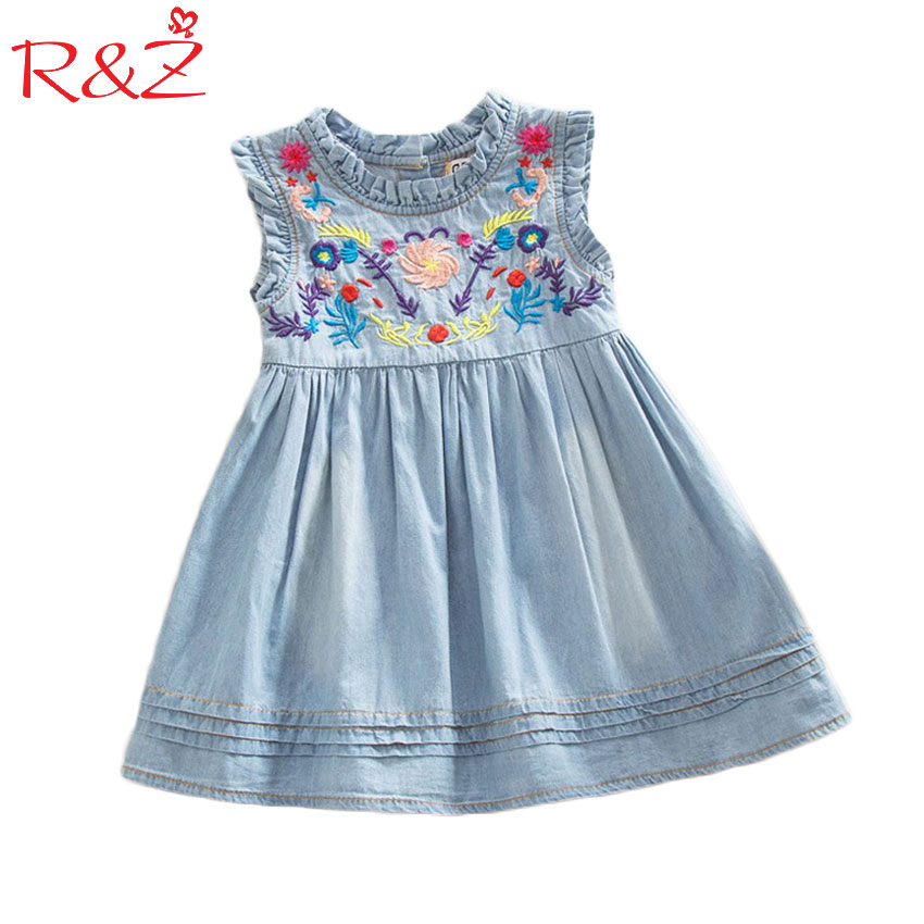 Girls Denim Dress 2017 Princess Dress embroidered Sleeveless high quality casual comfortable brand children's clothing Free ship asymmetric rhinestone design flower embroidered denim dress