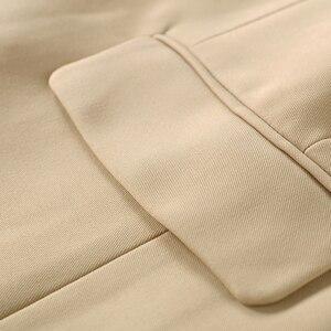 Image 5 - En kaliteli yeni şık 2020 klasik tasarımcı Blazer kadın kruvaze Metal aslan düğme Blazer ceket dış giyim haki