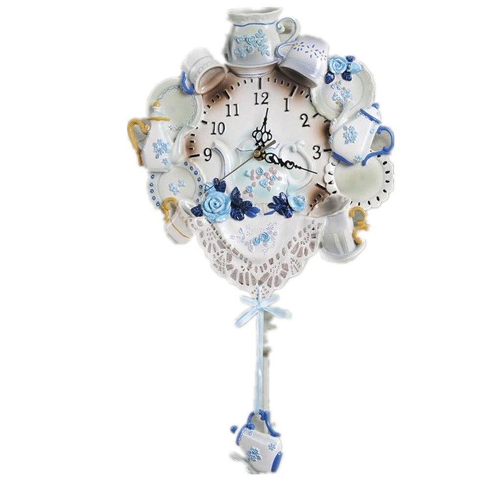 Novelty Mediterranean Creative China Blue Home Decoration Wall Clock