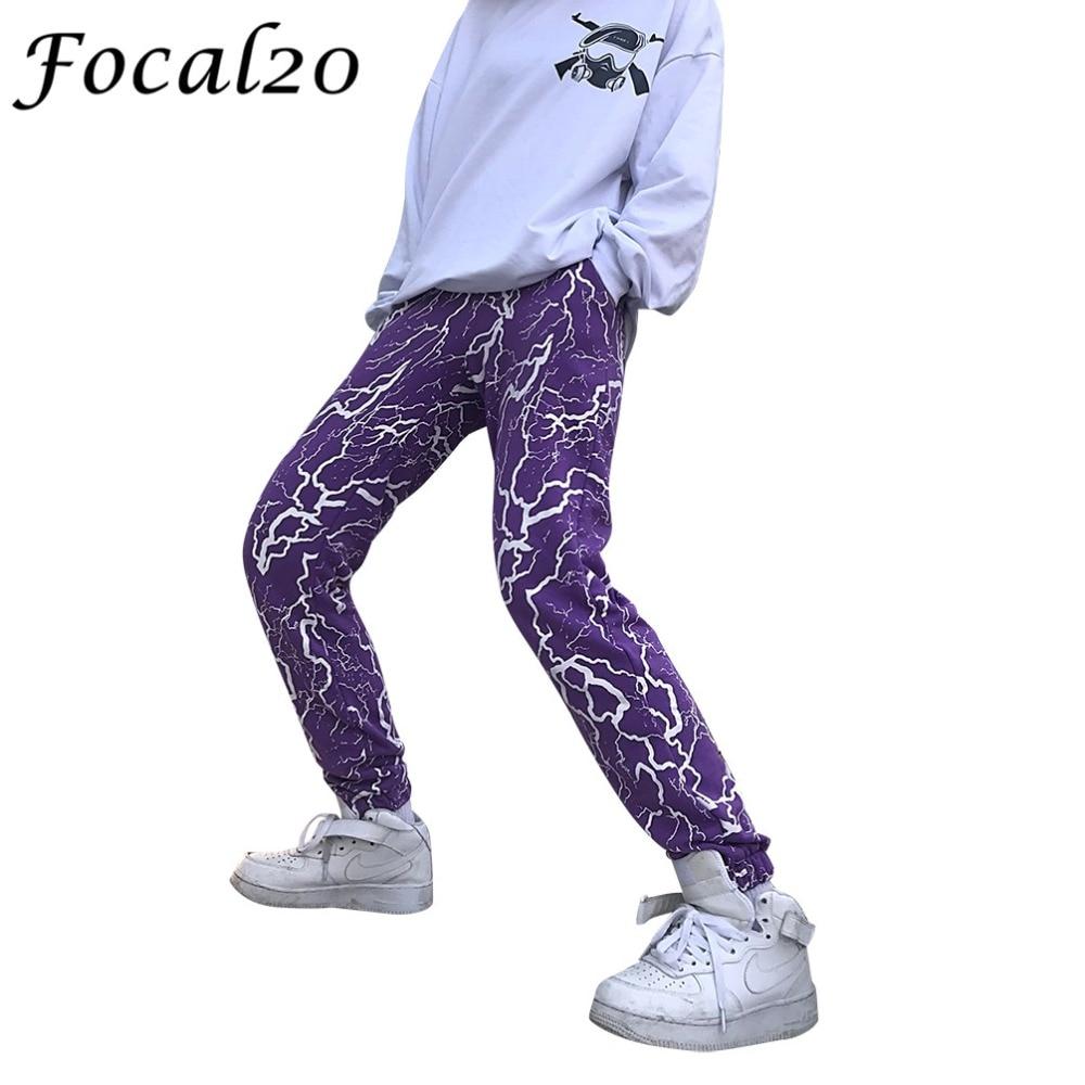 Focal20 Streetwear Lightning Women Harem Pants Purple Black Color Elastic Waist Pants Full Length Jogger Pants Trousers
