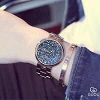 GUOU женские часы лучший бренд Роскошные часы с бриллиантами Для женщин часы из розового золота Для женщин часы для Для женщин часы relogio feminino
