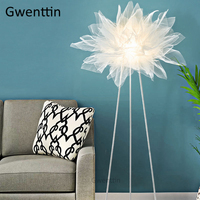 Nordic Fabric Lampshade Floor Lamp Modern Led Tripod Stand Light Fixtures Standing Lights for Living Room Bedroom Lamp Luminaire