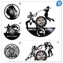Home Living Decoração Design Moderno de Mortal Kombat 12 polegada Película de Vinil Relógio de Parede Arte Decoração