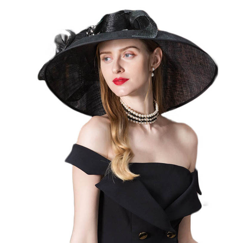 97ab8ce10ec FS Vintage Black Fascinator Sinamay Church Hats Women Elegant Lady Large  Wide Brim Linen Kentucky Derby Fedoras With Flower -in Fedoras from Apparel  ...