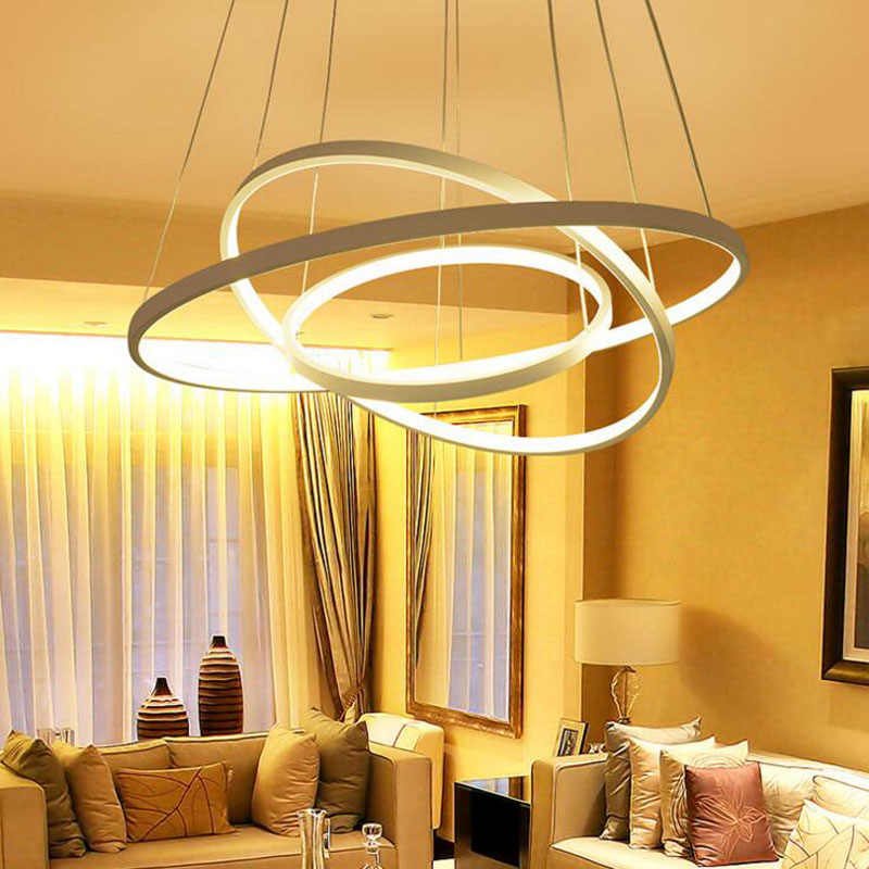 Round aluminum chandelier post-modern ring led bedroom lights acrylic thin living room decoration project lights LED lighting