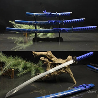 Free Shipping Decorative Sword Hand Forged 1045Carbon Steel Samurai Set Swords 3PCS With Stand Home Ornament Blue Dragon