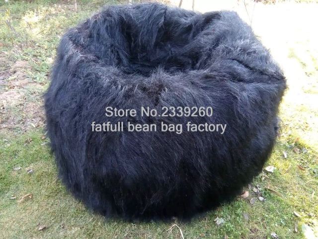 New Shaggy Lush White black Soft Luxury Faux Fur Beanbag Bean Bag Lounge  Chair 104cmD -self factory made - Cover only No Filler ee20bf4a61747