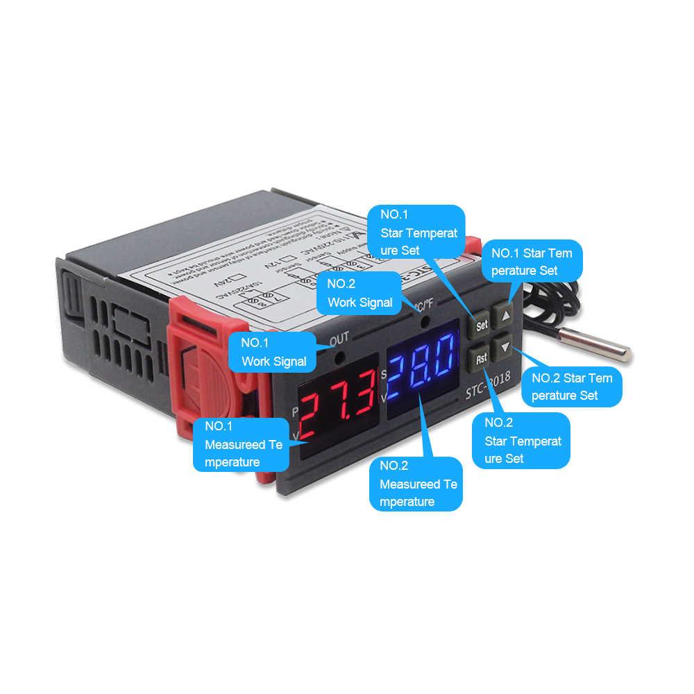 デジタル温度コントローラ STC-3018 110 v 220 v 温度調節インキュベーターサーモスタットヒーターとクーラー 10A リレー出力