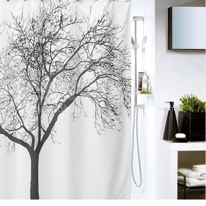 180 180cm Bathroom Shower Curtains Black Tree Design Polyester Waterproof Bath Curtains With