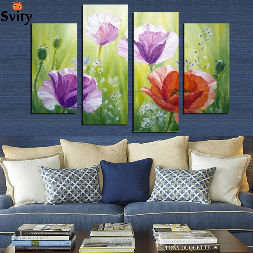 Purple Flower Oil Painting Abstract Wall Art Picture: Modern Abstract Oil Painting Red Purple Flower Canvas