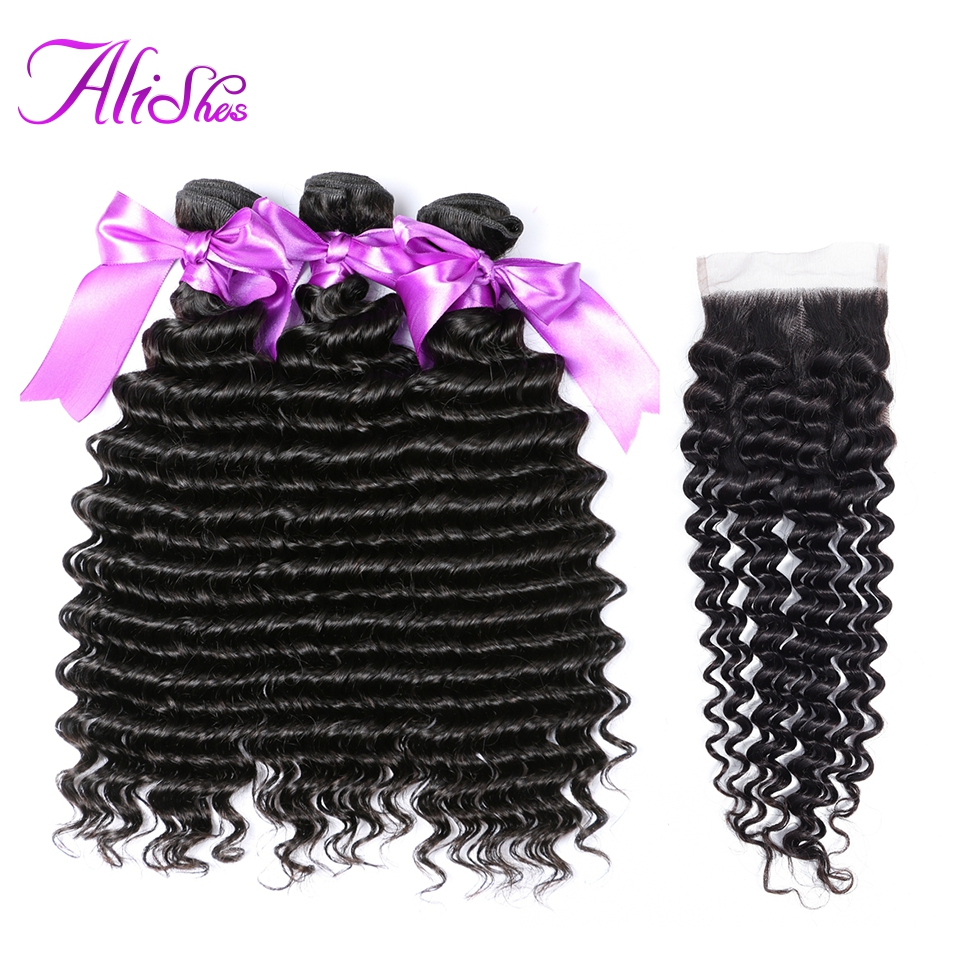 Alishes Deep Curly Wave 3 Bundles With Closure Malasian Hair Bundles With Closure Non Remy Human