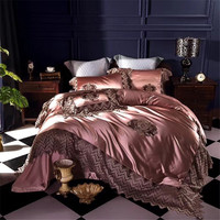 Luxury 100S Silk Cotton Romantic Hollow Lace Embroidery Bedding Set Duvet cover Bed sheet Bed Linen Pillowcases Queen King size