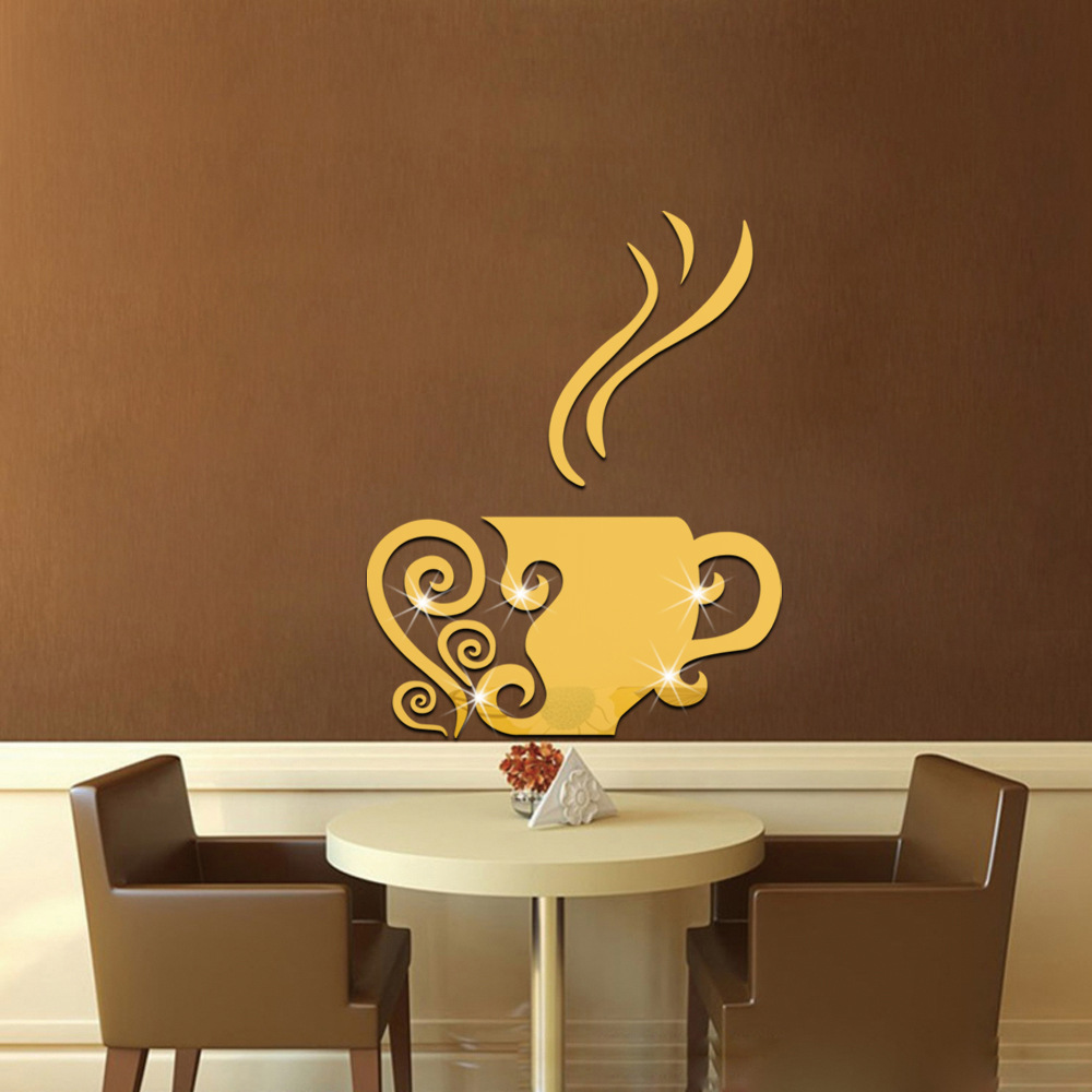 Acrylic Mirror Wall Sticker Coffee Wallpaper Poster Art Kitchen Wall  Stickers Bedroom Home Decoration Accessories LJ193 In Wall Stickers From  Home U0026 Garden ...