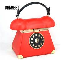 New Fashion Vintage Phone Styling Black Red Pu Leather Ladies Evening Bag Casual Totes Purse Women