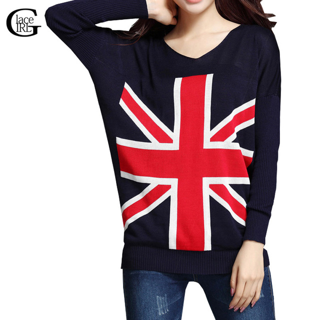 Lace Girl Fashion 2017 Women British Flag Knitted Sweater Casual Knit Long Sleeve UK Flag Winter Warm Knitwear Pullover Coat