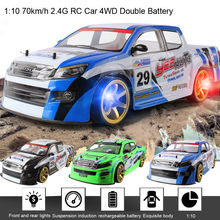 1:10 RC 70Km/Jam Remote Control Mobil 4WD Baterai Double High Power LED Lampu Radio Mesin Balap Truk Mainan anak-anak 6.19(China)