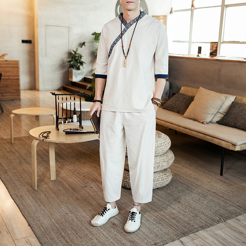 Loldeal National Style Summer Chinese Mens Clothing Hanfu Linen Set Casual Loose Solid Color Suit