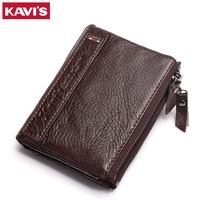 KAVIS Brand Leather Men Wallets Top Quality Genuine Leather Coffee Walet Men Card Holder Mini Wallet