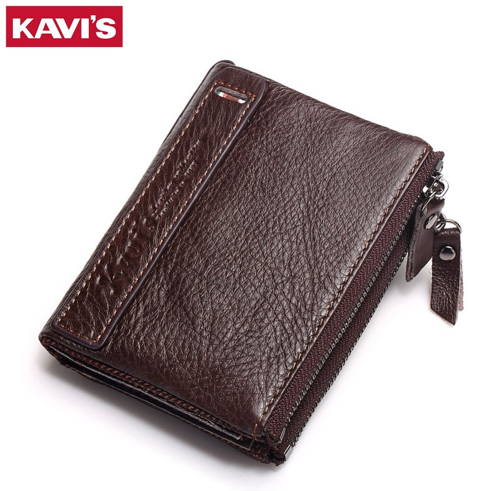 KAVIS Brand Leather Men Wallets Top Quality Genuine Leather Coffee Walet Men Card Holder Mini Wallet Men with Zipper Coin Pocket